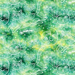 Celestial Cats in Green Tie-Dye
