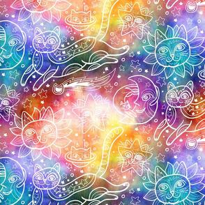 Celestial Cats in Rainbow Tie-Dye
