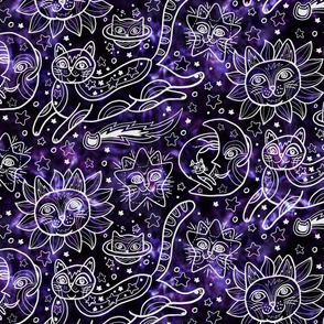 Celestial Cats in Celestial Purple