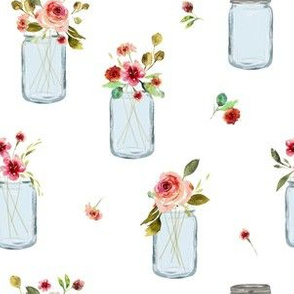 Pink Posies in Jars | Carnations Roses Flowers |Renee Davis