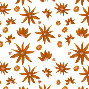 mexican sunflower fabric on white