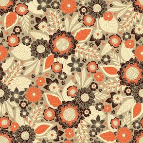 Retro Orange, Brown & Cream 1970s Floral Pattern