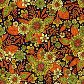 Green, Orange, Yellow & Dark Purple Floral Pattern