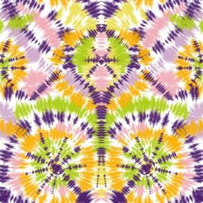 Orange, green and purple tie dye