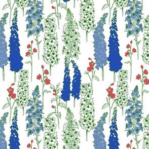 Medium Blue & Red May Flowers