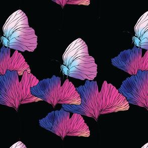 Ginkgo Butterfly Gradient Black