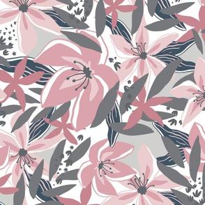 Tropical Floral Blush Gray
