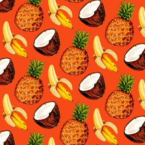 Tropical Banana Coconut Pineapples - Red