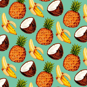Tropical Banana Coconut Pineapples - Teal
