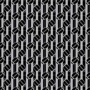 Black Silver Small Scale Football Polka Dots