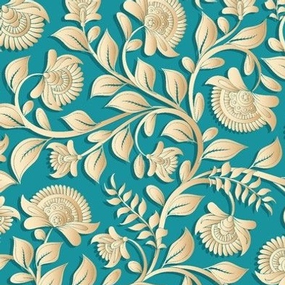 Paper-cut intertwining flower branches on a turquoise background. Golden shades of flowers and leaves , Indian style, kalamkari.