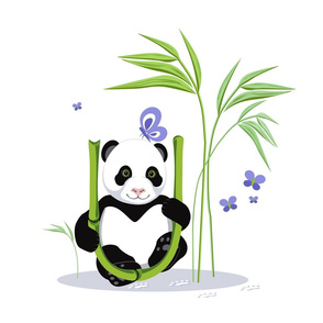 The letter U and Panda, white background