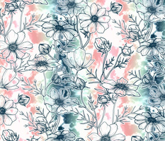 Fields of Cosmos in Coral, Mint and Navy Tied Dye