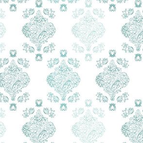 Flowerly Tiles in white and turquoise seamless pattern background.