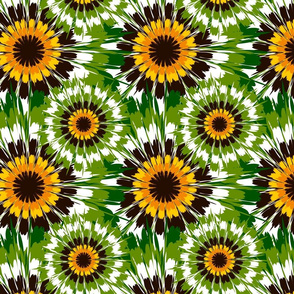 Seamless vector pattern with tie dye style sunflowers. Floral wallpaper design with abstract flowers. Beautiful background with green and yellow paint.