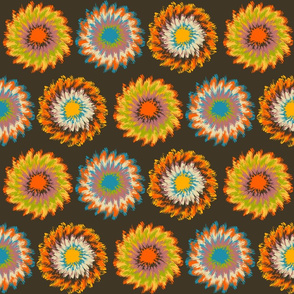Tie-Dye Flowers Brown