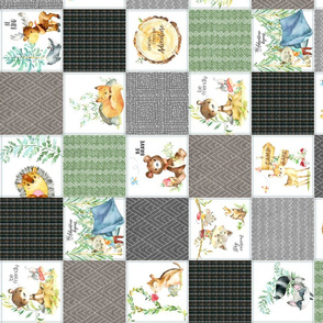"""3 1/2"""" Woodland Adventures Patchwork Quilt Top (putty, grays, green) Kids Woodland Blanket Fabric, ROTATED design B"""