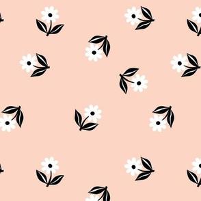 Romantic boho daisy flowers botanical tossed floral spring summer Scandinavian nursery print black apricot pale blush