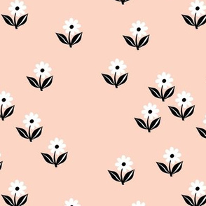 Romantic boho daisy flowers botanical floral spring summer Scandinavian nursery print black apricot pale blush