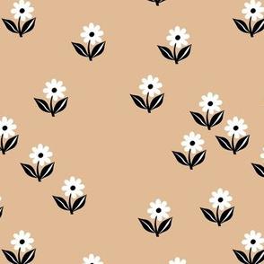 Romantic boho daisy flowers botanical floral spring summer Scandinavian nursery print black white cinnamon beige