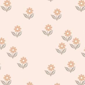 Romantic boho daisy flowers botanical floral spring summer Scandinavian nursery print sand beige gray