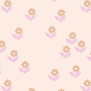 Romantic boho daisy flowers botanical floral spring summer Scandinavian nursery print sand beige pink