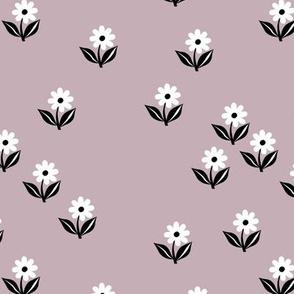 Romantic boho daisy flowers botanical floral spring summer Scandinavian nursery print lilac purple