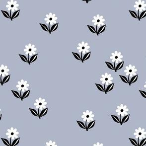 Romantic boho daisy flowers botanical floral spring summer Scandinavian nursery print cool blue