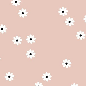 Little daisy morning soft pastel flowers abstract Scandinavian garden design spring summer nursery neutral beige