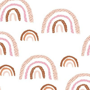I wanna be a rainbow high in the sky cool abstract boho trend print white pink copper beige