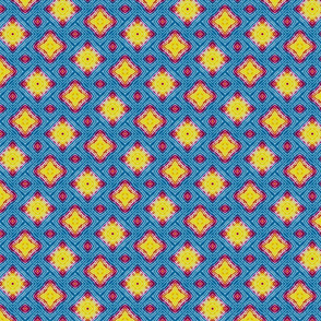 Tie  Dye Diamonds Yellow Magenta Cyan
