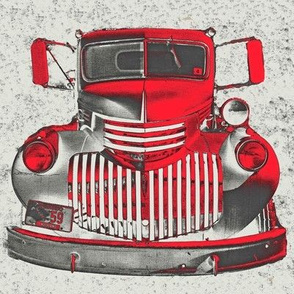 Fire Truck Vintage Red Gray Sketch