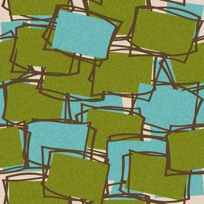 Textured Mid-Mod Elements in Olive & Aqua-l on Beige