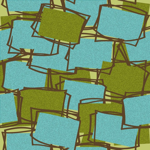 Textured Mid-Mod Elements in Olive &  Aqua-ll on Lt. Olive