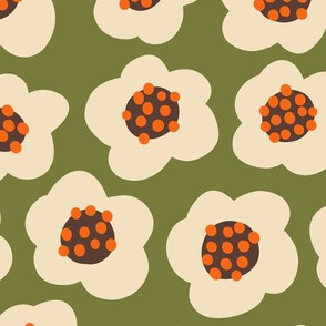 Blob flowers - Large Scale Olive