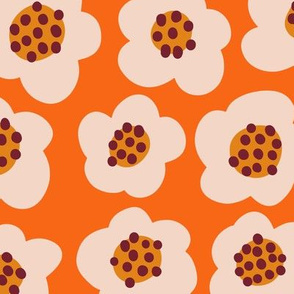 Blob flowers - Large Scale Orange