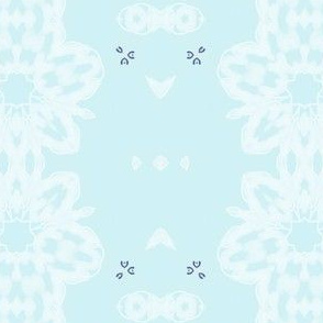 White Lace on Eggshell Blue  - XS Vertical Stripes