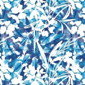 Tie Dye Shibori Floral Navy Blue