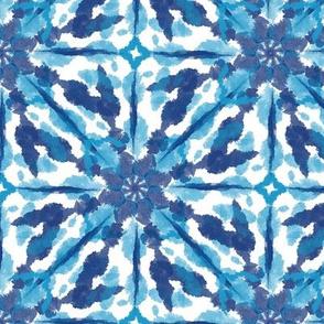 Tie Dye Shibori Sunburst Navy Blue