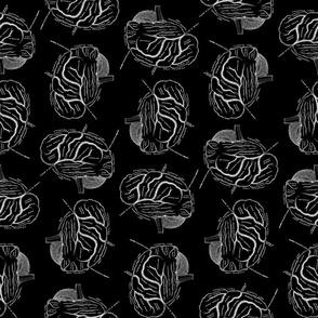 Brain Diagrams Vintage Art Pattern on Black Background