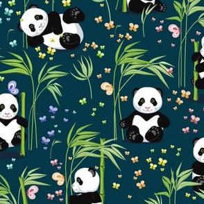 Panda with bamboo, dark green background