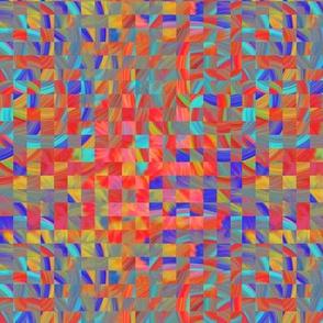 TIE DYE 11 FLOWER mini checkerboard braided squares ORANGE RED CORAL PSMGE