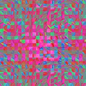TIE DYE 11 FLOWER mini checkerboard braided squares PINK FUCHSIA PSMGE
