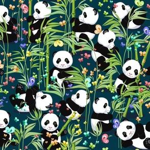 Cheerful panda with bamboo, dark green background