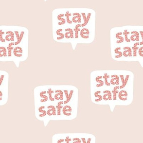 Inspirational text designs Stay safe and stay home corona virus design beige pink leopard spots