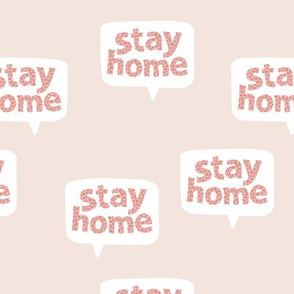 Inspirational text design stay home save lives corona virus design beige pink leopard spots