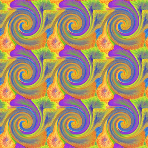 TIE DYE 3 SPIRAL squares tiles yellow ORANGE PSMGE