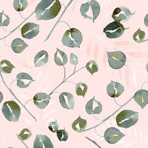 20-03x Boho Blush Pink Sage Green Leaf Fern