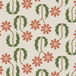 Bidirectional Floral Large Red