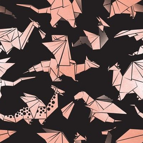 Small scale // Origami metallic dragon friends // black background metal rose fantasy animals
